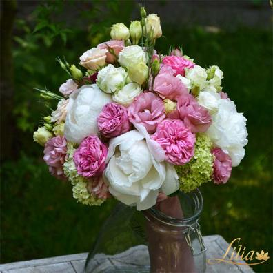 Bouquet with peony, eustoma and roses